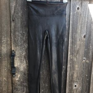 SPANX Black Faux Leather Leggings Size S/P Vegan